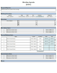 Meeting Agenda Template Excel free excel meeting agenda template