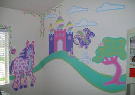 princess pony mural paint kid bedroom home interiors