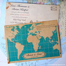 Map Of The Whole World by Vintage Map Wedding Invites Wed Fest Event Stationery