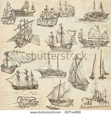 design graphic collection vintage ships sailboats stock vector