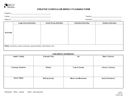 creative curriculum blank lesson plan weekly template for