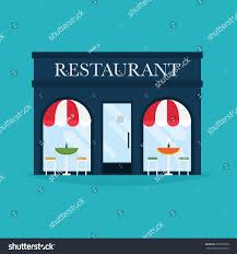 vector illustration restaurant building facade icons stock vector