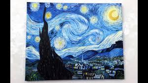 starry night painting acrylic timelapse