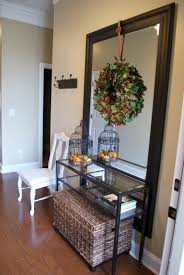 Small Entry Ideas Mesmerizing Long Small Entry Table With Mirror And Wicker Bench Of