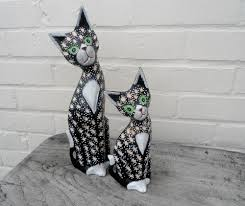 cat statues pair of carved wooden cat ornaments co uk
