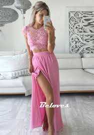 pink high slit two piece prom dress with lace top beloves