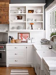 kitchen open cabinets how to convert kitchen cabinets to open shelving better homes