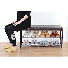 Bench Shoe Storage Storage Maniac 2 Tier Shoe Rack Bench With Faux