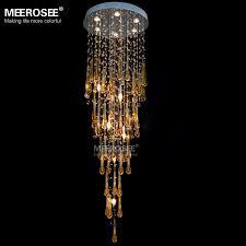 blue crystal chandelier light meerosee royal blue crystal chandelier light fixture long large