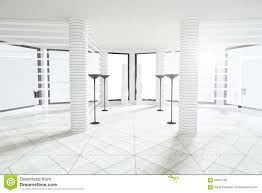 modern white empty room with pillars and big windows stock