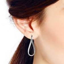 ear sense earrings sleek modern twist bent oval v lock sterling silver hoop earrings