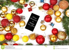 mobile phone and christmas and new year decoration stock photo