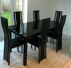 Black Glass Extending Dining Table Glass Extendable Dining Table And 6 Chairs Extendable Dining Table
