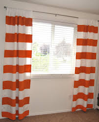 Orange And White Curtains Pretty White Outside Mount Blinds Combined With White Striped