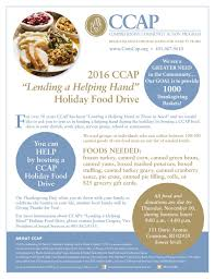thanksgiving grocery list ccap u0027s 2016 holiday giving holiday food drives