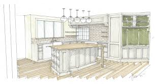 perspective drawing of custom kitchen island with view to pass