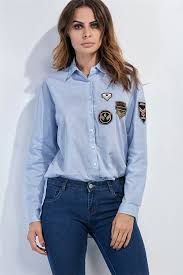 light blue button down shirt women s light blue long sleeve badge applique button up shirt 033361