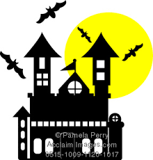 pictures of cartoon haunted houses art illustration of a cartoon haunted house with bats and a full moon