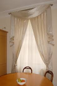 swag and tail with satin curtains yards of style pinterest