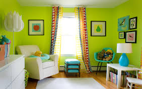 greenliving bright green living room walls round coffee table nearby view