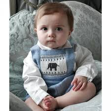baby boys pale blue elephant smocked tweed dungarees