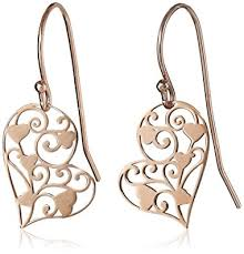 filigree earrings 14k gold plated sterling silver filigree heart