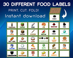 minecraft food labels food tent cards minecraft by fishdesgn