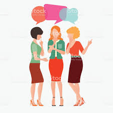 cartoon character of women with colorful dialog speech bubbles