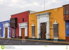 colorful colonial houses in trujillo downtown peru editorial