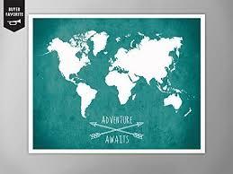 Amazon WORLD MAP POSTER Adventure Awaits World Map Map of