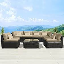 amazon com outsunny 7 piece outdoor patio pe rattan wicker sofa