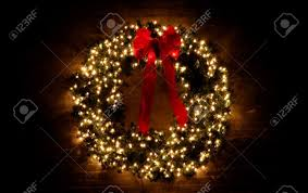 wreath with lights stock photo picture and royalty free