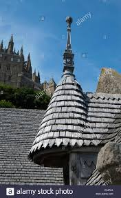 Wooden Roof Finials by Wooden Timber Roof Tiles Mont St Michel Normandy France Stock