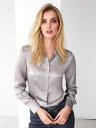 grey silk blouse hahn blouse in 100 silk silver grey