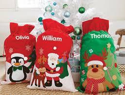 personalised santa and reindeer sack