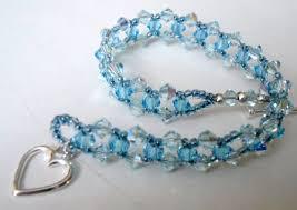 woven bracelet with beads images Aqua blue bead woven bracelet sterling silver swarovski crystal jpg