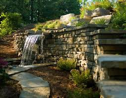 Backyard Feature Wall Ideas Waterfall Coming Out Of A Retaining Wall Cool Idea For The Pond