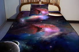 galaxy bedding set two sides printing galaxy twin quilt cover