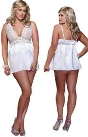 Wedding Lingerie Plus Plus Size Short White Lace Babydoll Bridal Lingerie Set One