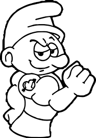 power smurf coloring wecoloringpage