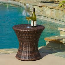 outdoor furniture side table amazon com townsgate outdoor brown wicker hourglass side table