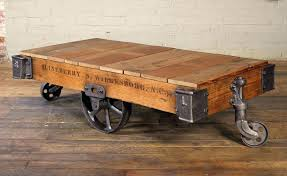 Rolling Coffee Table Vintage Cart Coffee Table Vintage Industrial 3 Wheeled Rolling