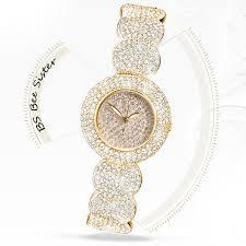 womens diamond bracelet watches images Women stylish bs brand full diamond bracelet watch women luxury jpg