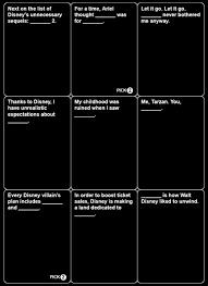 words against humanity cards disney themed cards against humanity allegedly coming geekologie