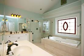 bathroom design gorgeous bathroom with stained glass above the
