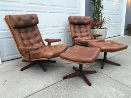 Chair W Ottoman Vintage Gote Mobler Leather Reclining Chair W Ottoman Made In