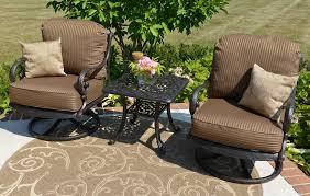 Patio Furniture Swivel Chairs Amalia 2 Person Luxury Cast Aluminum Patio Furniture Chat Set W
