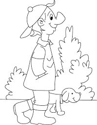boy walking puppy coloring download free boy