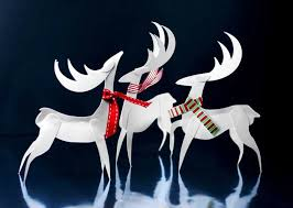 paper reindeer ornament paper craft print pdf cut glue