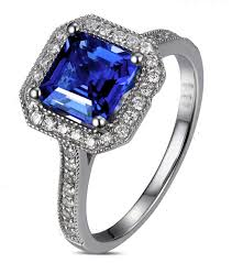 engagement rings sapphire images Antique 1 carat princess cut sapphire and diamond engagement ring jpg